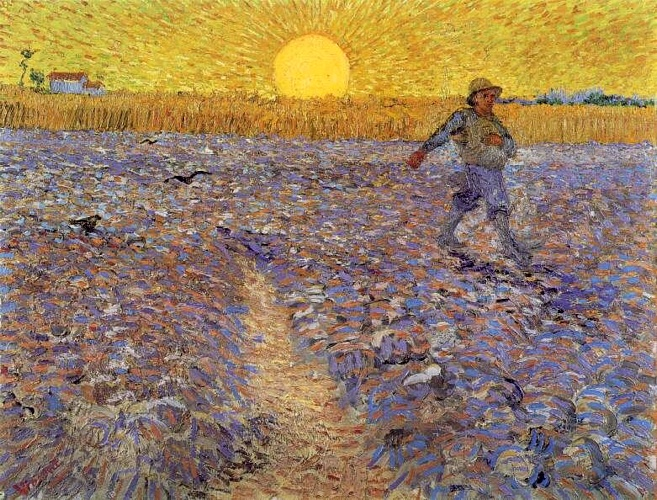 famous painting `sower` con impostazione sole of Vincent Van Gogh