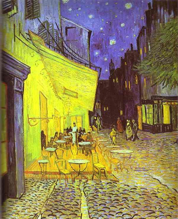 famous painting caffetteria terrazza di notte of Vincent Van Gogh