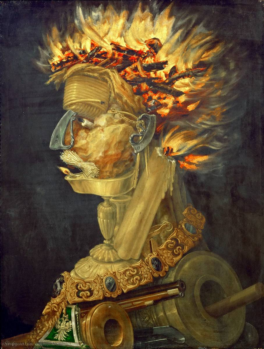 famous painting il il fuoco of Giuseppe Arcimboldo