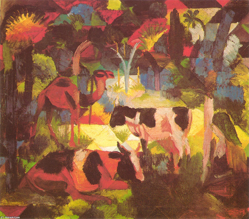 famous painting paesaggio con mucche e cammello of August Macke