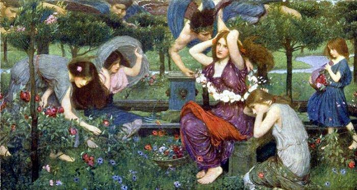 Ordinare Stampe Di Qualità Del Museo | flora and the zephyrs di John William Waterhouse | Most-Famous-Paintings.com