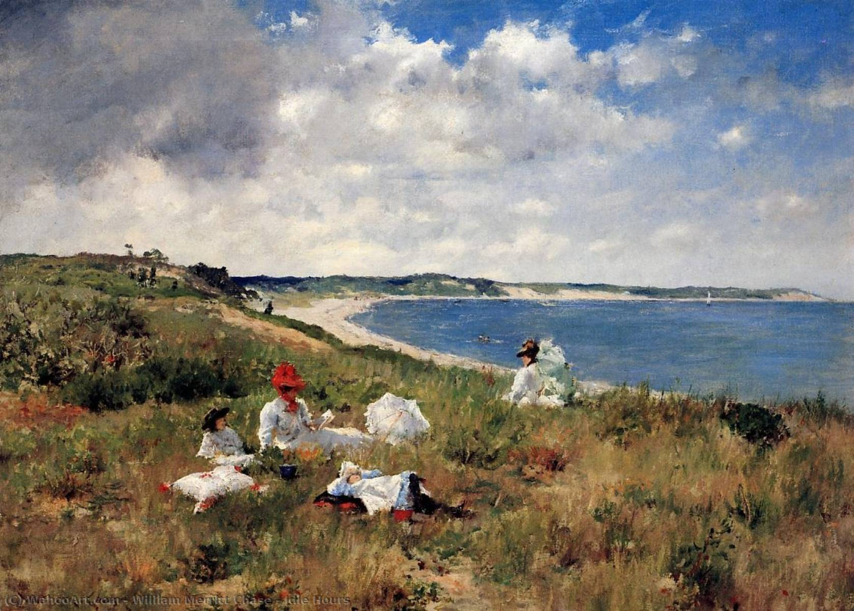 famous painting Inattivo ore  of William Merritt Chase