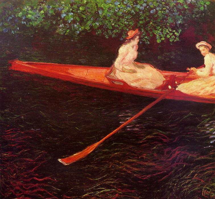 famous painting in barca sul fiume epte of Claude Monet