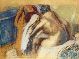 Edgar Degas - donna `drying` lei capelli