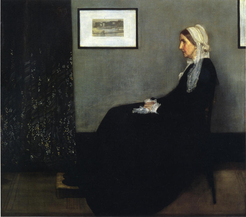 famous painting arrangiamento in grigio e nero . Ritratto del Painter's Madre of James Abbott Mcneill Whistler