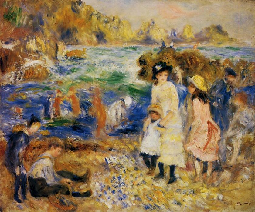 famous painting bambini al mare a guernsey of Pierre-Auguste Renoir
