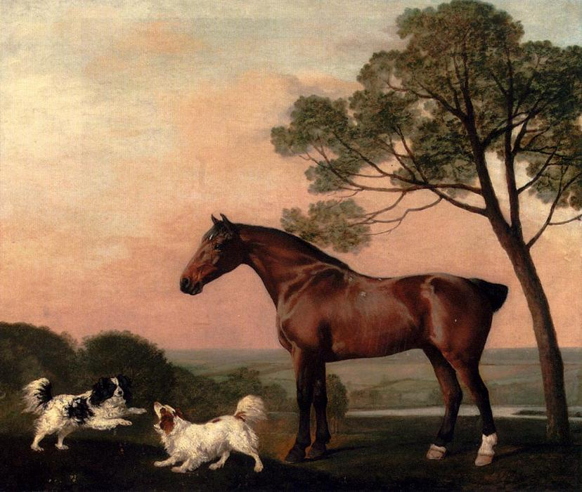Compra Riproduzioni D'arte Del Museo | un bay hunter con due spaniel di George Stubbs | Most-Famous-Paintings.com