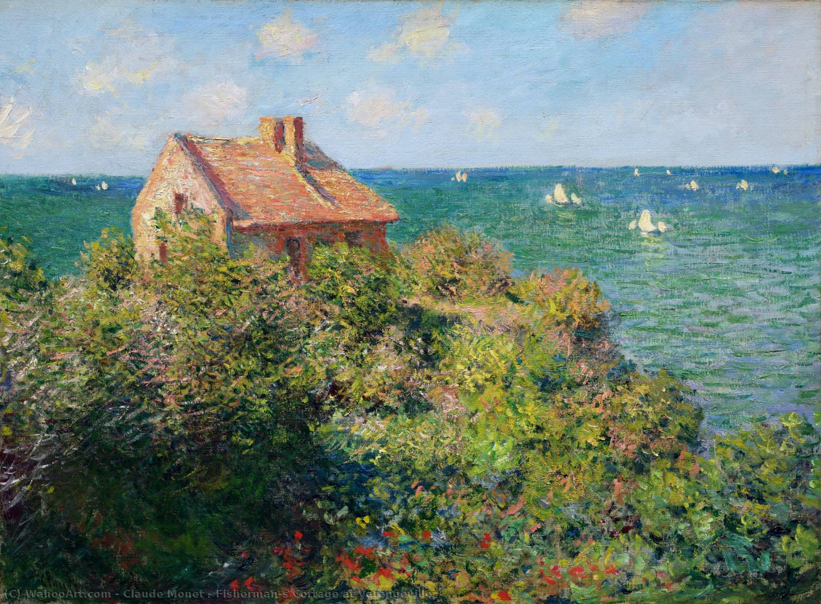 Compra Riproduzioni D'arte Del Museo | Fisherman's cottage a varengeville di Claude Monet | Most-Famous-Paintings.com