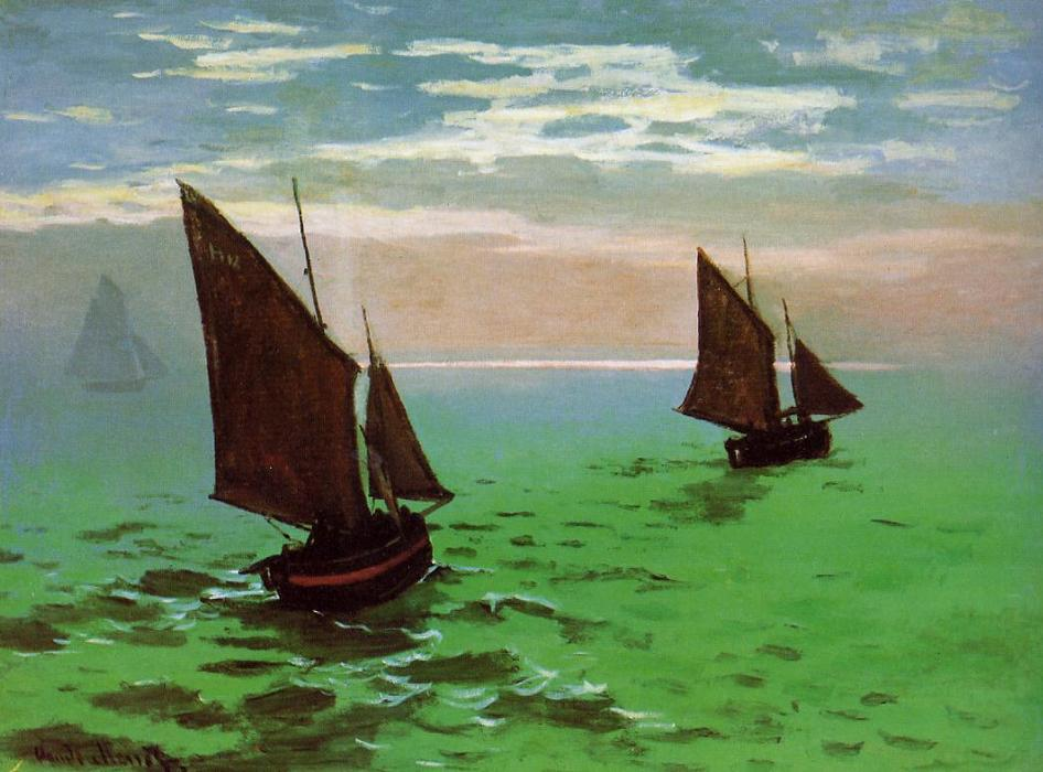 famous painting pescare barche a mare of Claude Monet