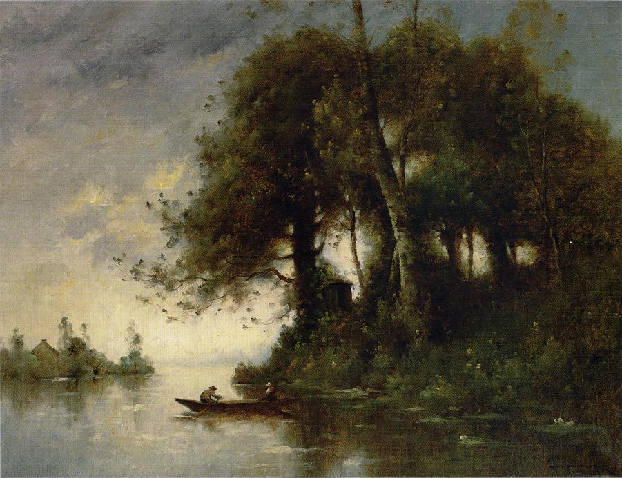 famous painting paesaggio al `water's` limite of Paul Désiré Trouillebert