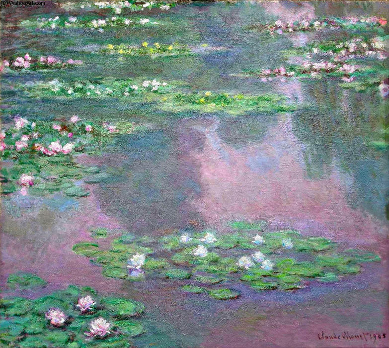 famous painting acqua gigli 14 of Claude Monet