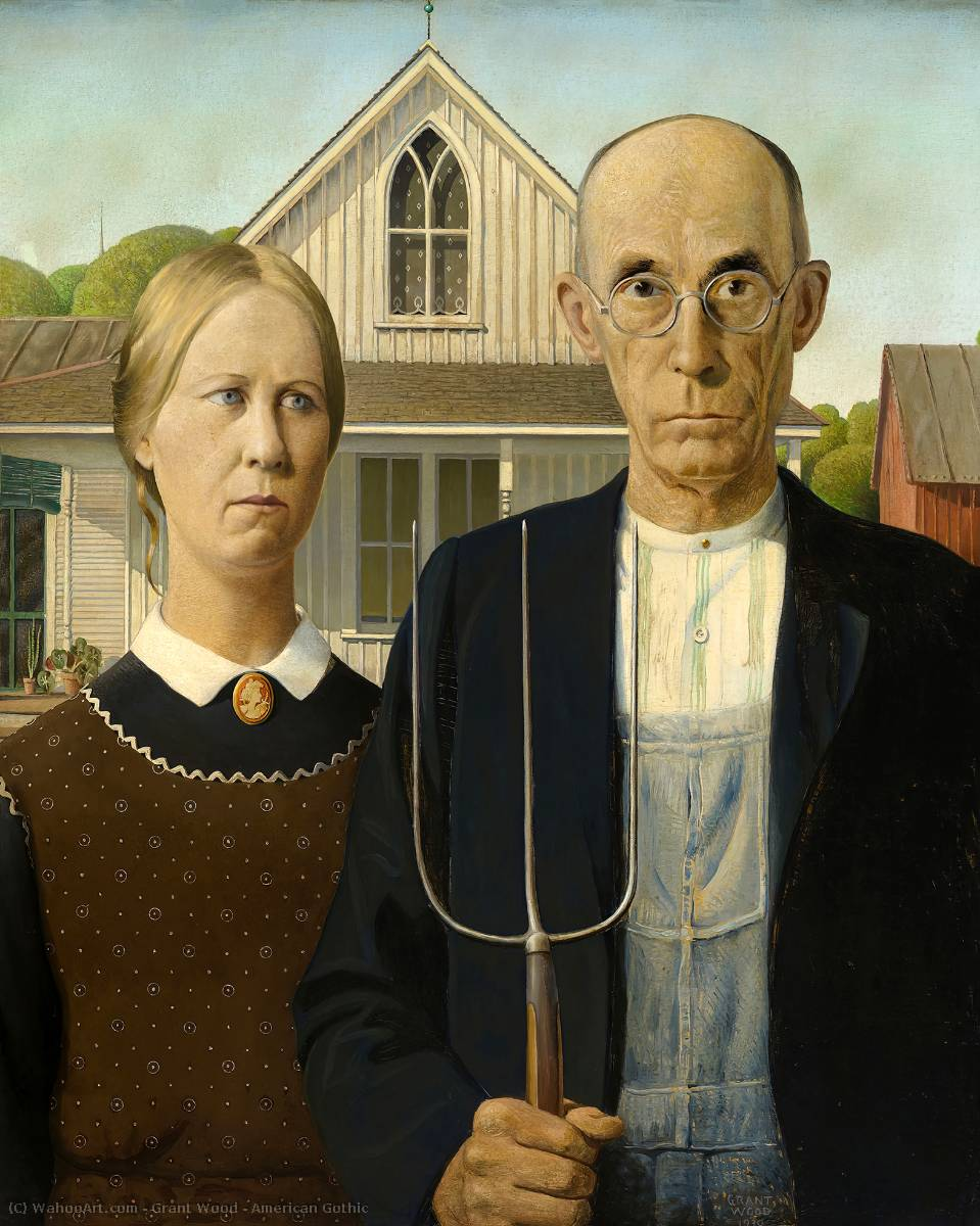 famous painting americano gotico of Grant Wood