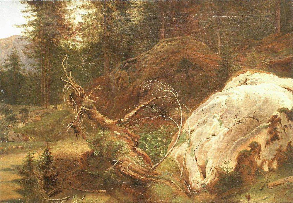 famous painting pietre nel a foresta of Ivan Ivanovich Shishkin