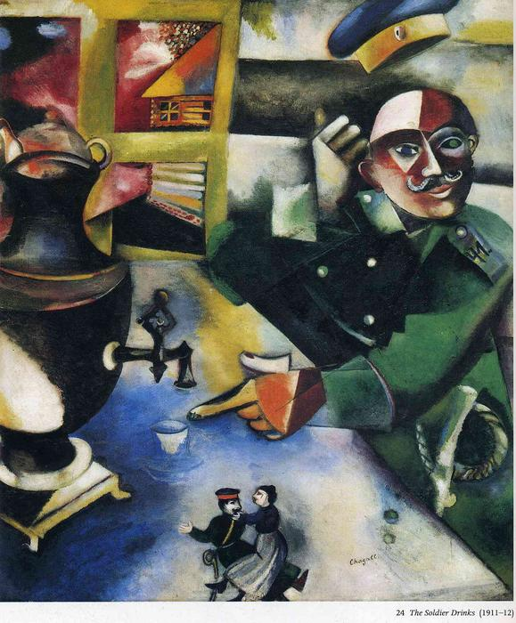 famous painting Il soldato bevande of Marc Chagall