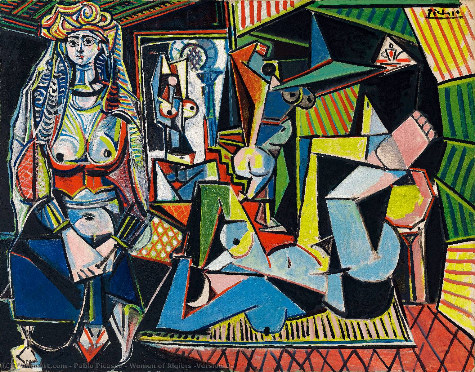 | donne di algeri ( versione o ) di Pablo Picasso | Most-Famous-Paintings.com