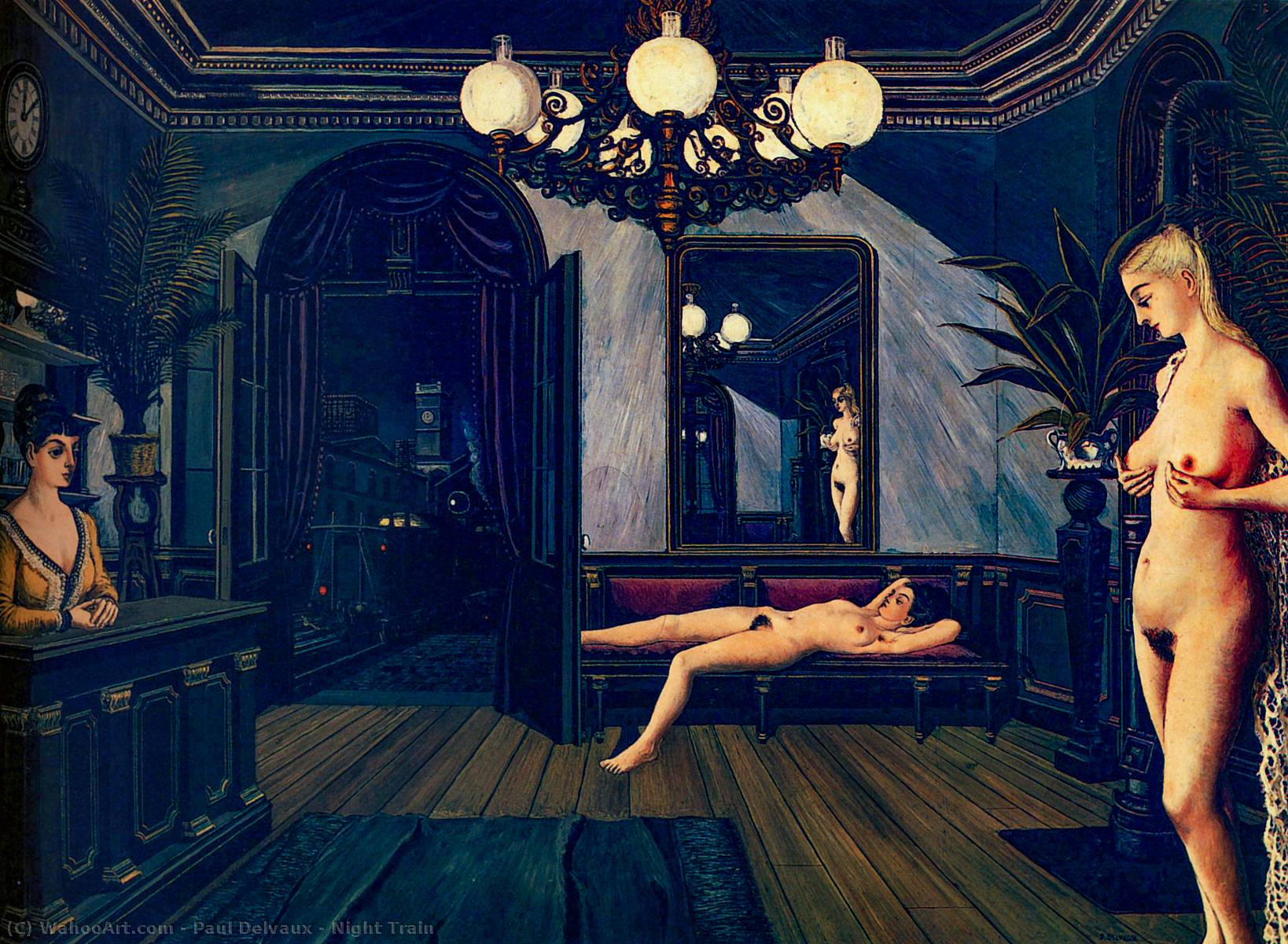 | treno notturno di Paul Delvaux | Most-Famous-Paintings.com