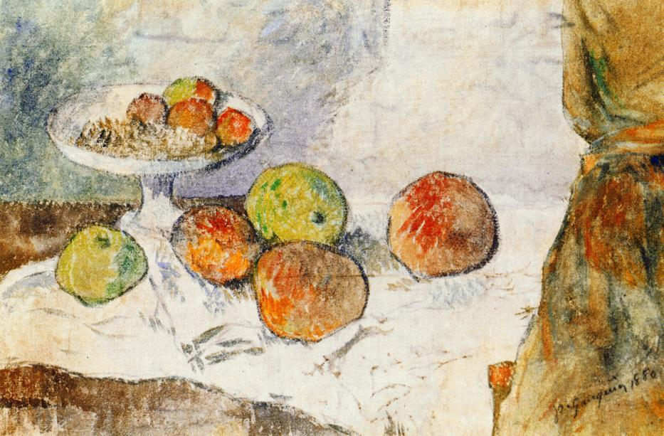 Ordinare Stampe Di Qualità Del Museo | Natura morta con frutta piatto di Paul Gauguin | Most-Famous-Paintings.com