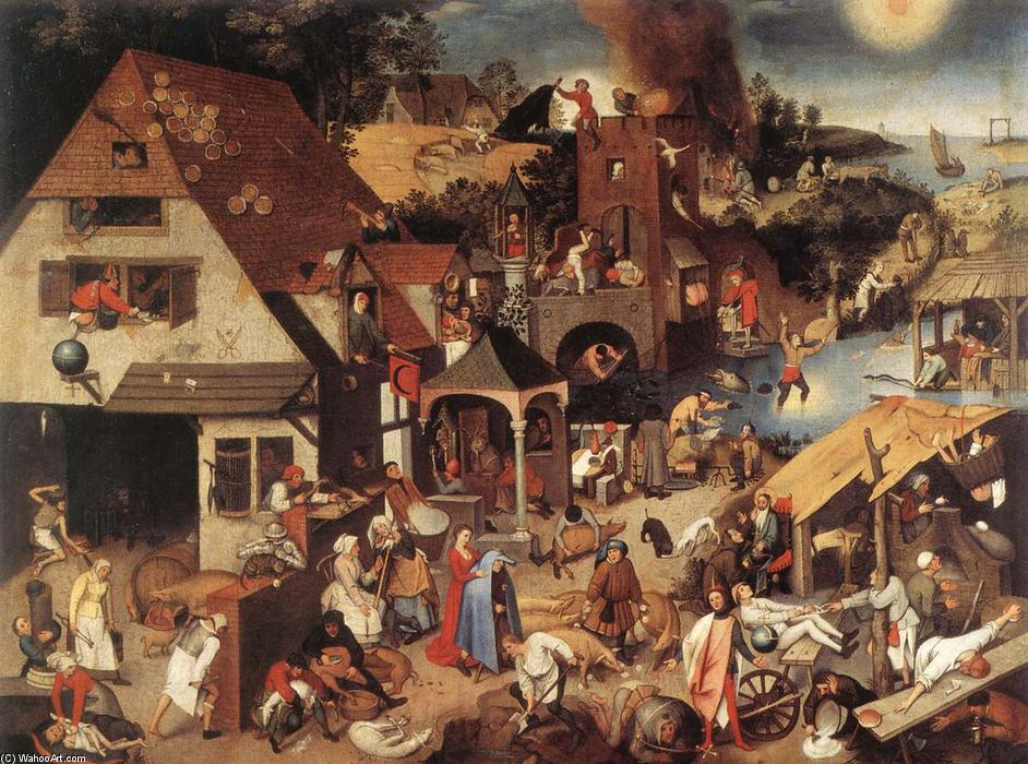 famous painting Proverbi fiamminghi of Pieter Bruegel The Younger