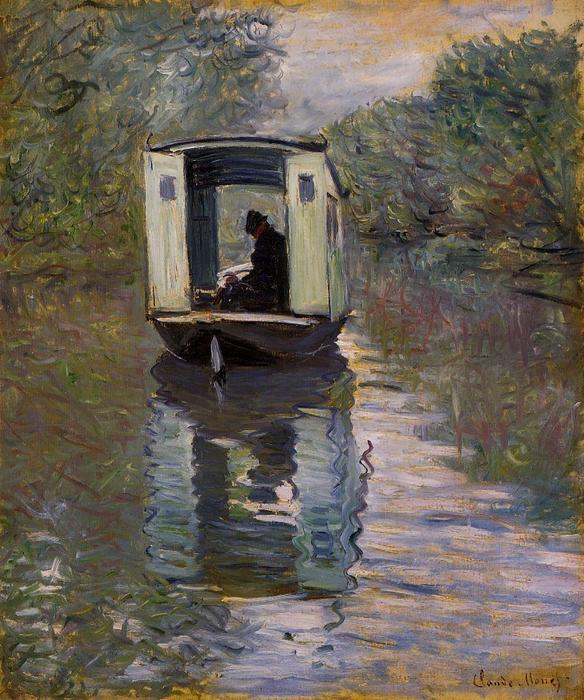 famous painting the studio boat of Claude Monet