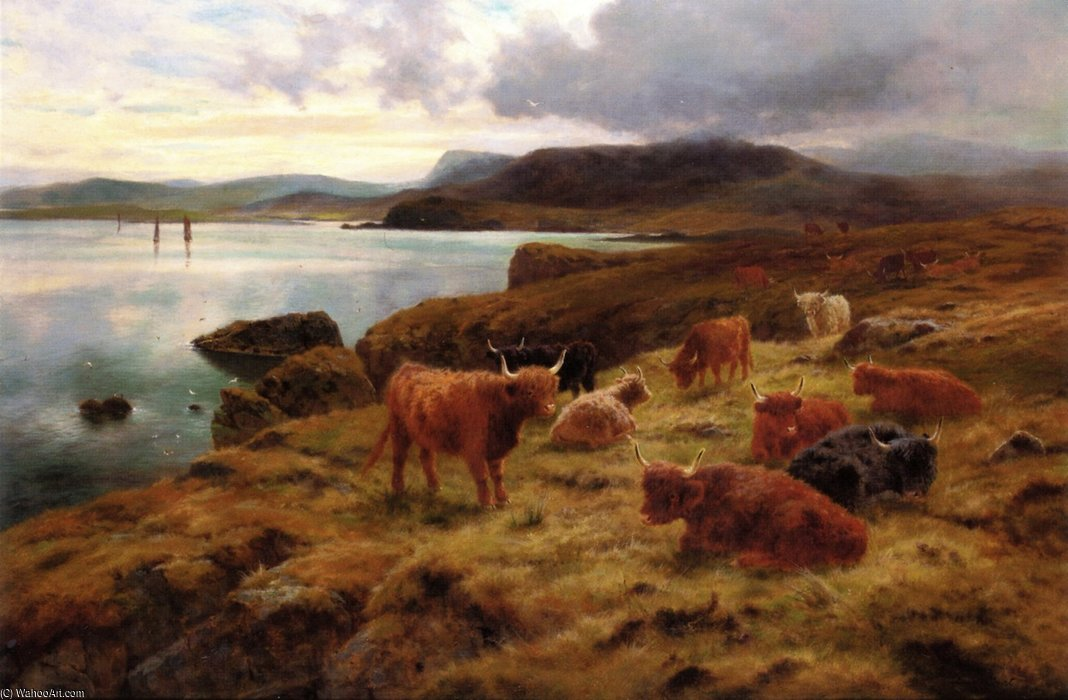 Ordinare Stampe Di Qualità Del Museo | On The Cliffs At Shetland di Louis Bosworth Hurt | Most-Famous-Paintings.com