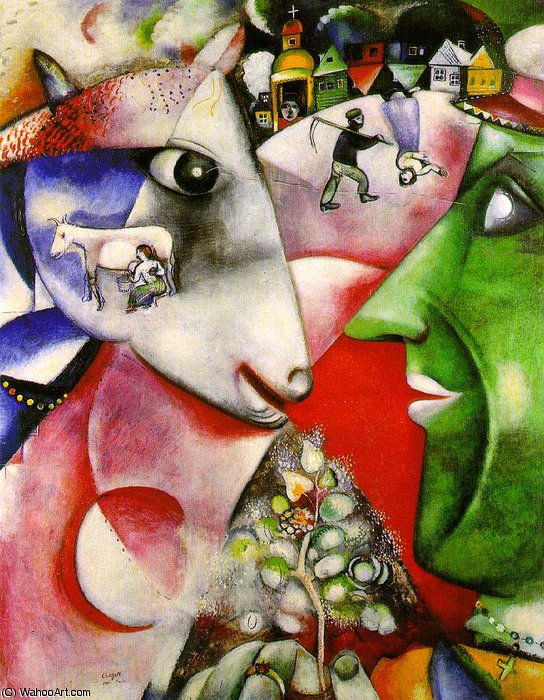 | io e il villaggio , moma ny di Marc Chagall | Most-Famous-Paintings.com