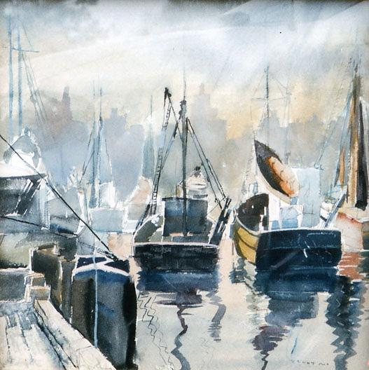 | (Boats nel porto con chicago Orizzonte ) , ( pittura ) di Ruth Van Sickle Ford | Most-Famous-Paintings.com